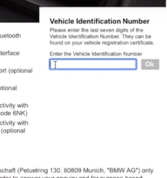 Chassisnummer ingeven voor BMW navigatie update