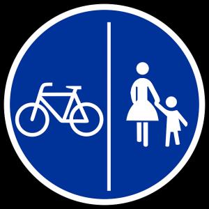 fietsers op het voetpad